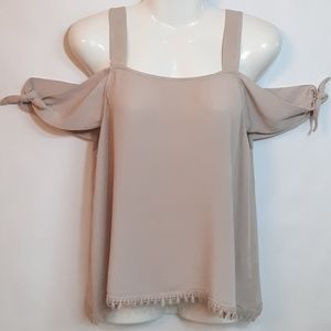 Teenplo tank top with tie strap sleeve accents